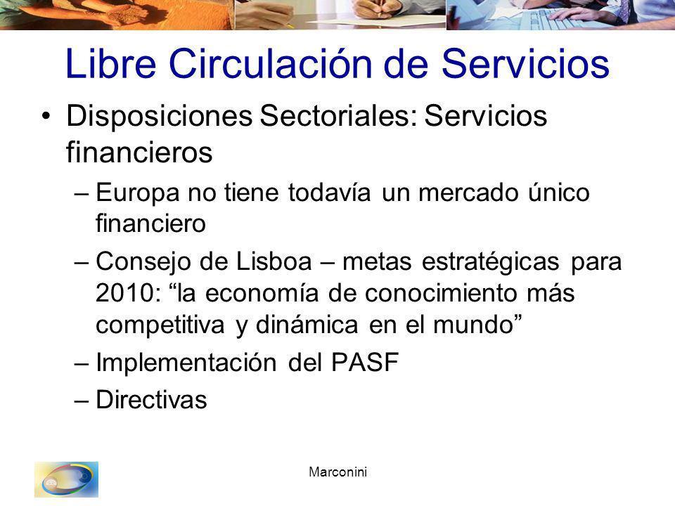 Marconini Libre Circulación de Servicios Disposiciones Sectoriales: Servicios financieros –Europa no tiene todavía un mercado único financiero –Consej