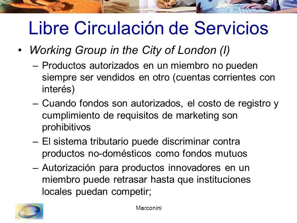 Marconini Libre Circulación de Servicios Working Group in the City of London (I) –Productos autorizados en un miembro no pueden siempre ser vendidos e