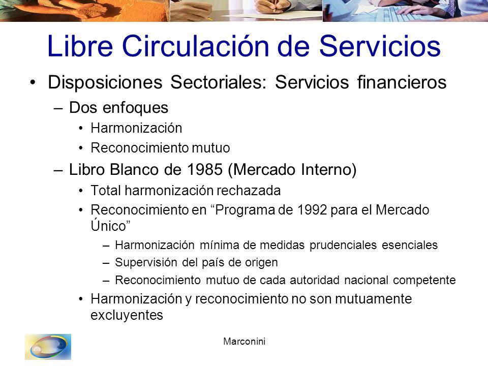 Marconini Libre Circulación de Servicios Disposiciones Sectoriales: Servicios financieros –Dos enfoques Harmonización Reconocimiento mutuo –Libro Blan