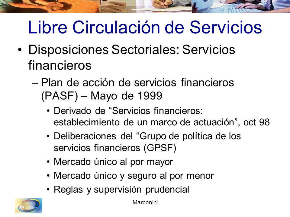 Marconini Libre Circulación de Servicios Disposiciones Sectoriales: Servicios financieros –Plan de acción de servicios financieros (PASF) – Mayo de 19