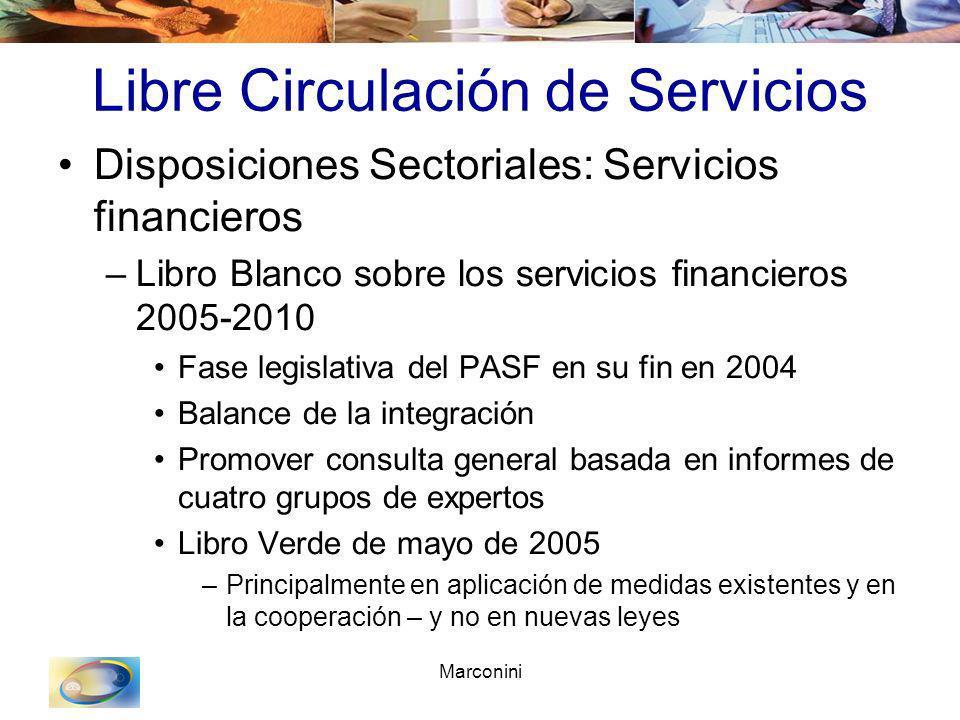 Marconini Libre Circulación de Servicios Disposiciones Sectoriales: Servicios financieros –Libro Blanco sobre los servicios financieros 2005-2010 Fase