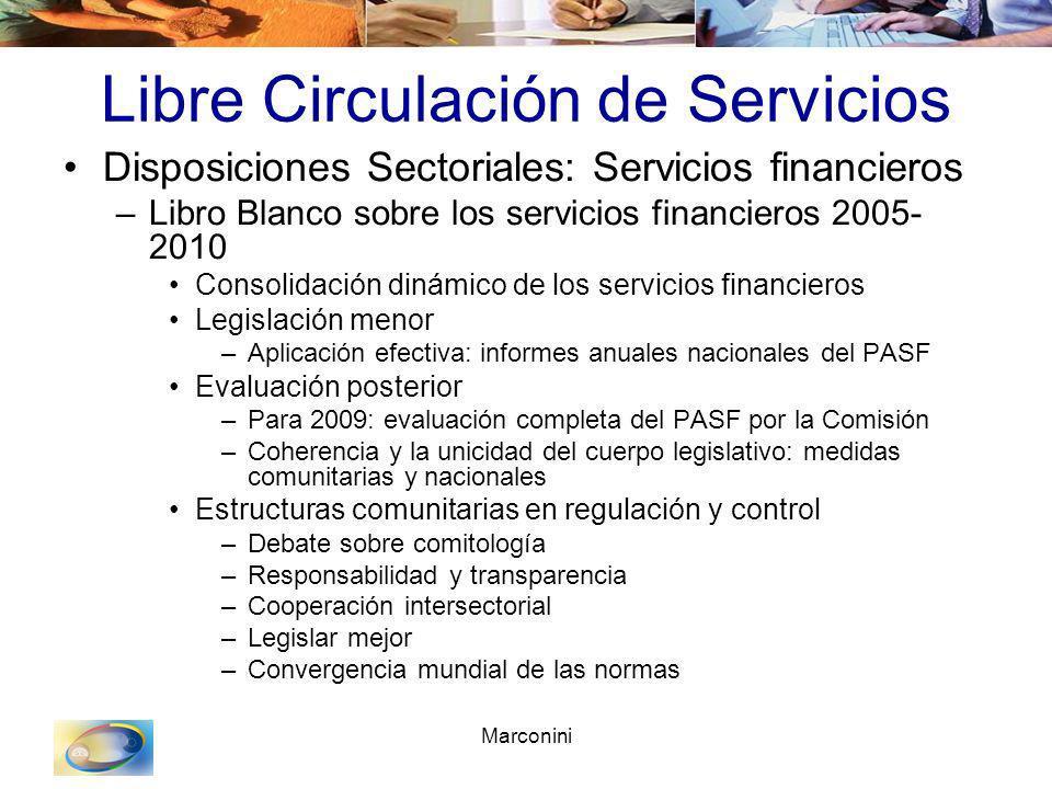Marconini Libre Circulación de Servicios Disposiciones Sectoriales: Servicios financieros –Libro Blanco sobre los servicios financieros 2005- 2010 Con