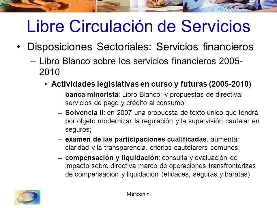 Marconini Libre Circulación de Servicios Disposiciones Sectoriales: Servicios financieros –Libro Blanco sobre los servicios financieros 2005- 2010 Act
