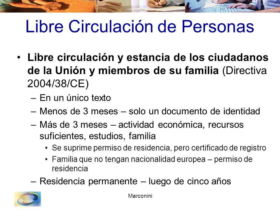 Marconini Libre Circulación de Personas Libre circulación y estancia de los ciudadanos de la Unión y miembros de su familia (Directiva 2004/38/CE) –En