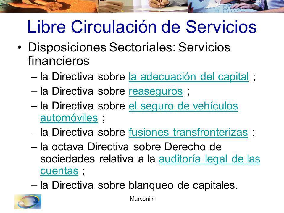 Marconini Libre Circulación de Servicios Disposiciones Sectoriales: Servicios financieros –la Directiva sobre la adecuación del capital ;la adecuación