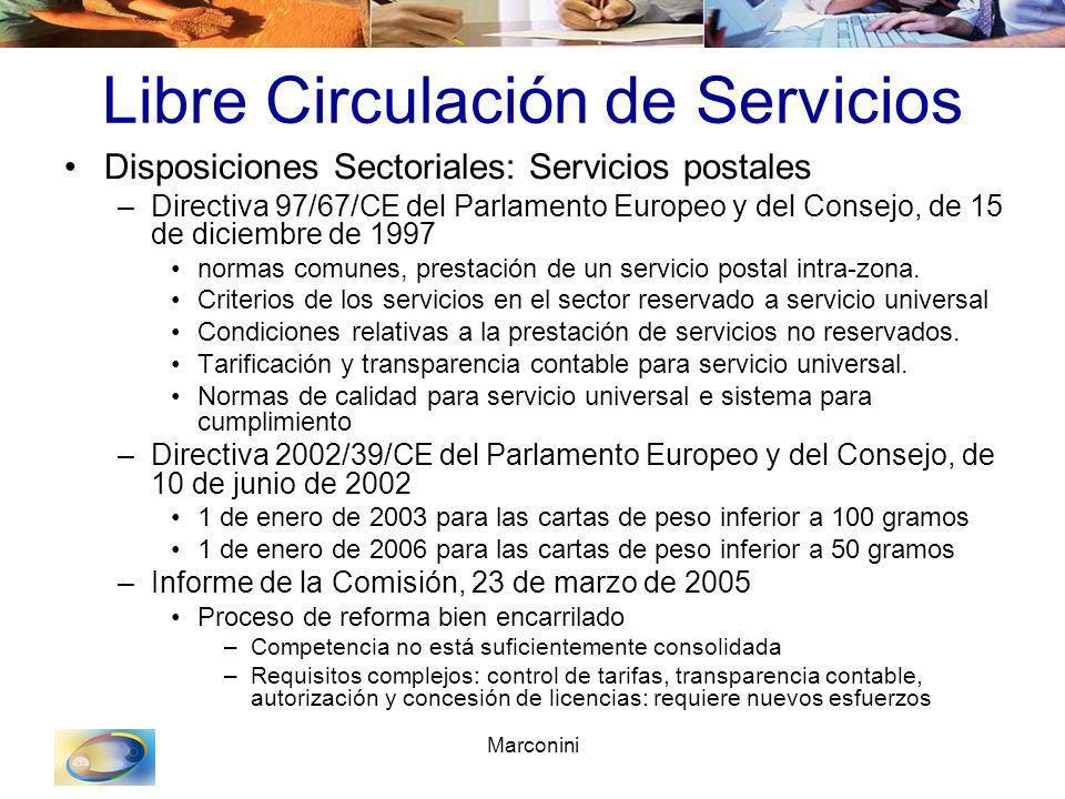 Marconini Libre Circulación de Servicios Disposiciones Sectoriales: Servicios postales –Directiva 97/67/CE del Parlamento Europeo y del Consejo, de 15