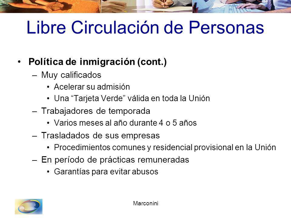 Marconini Libre Circulación de Personas Política de inmigración (cont.) –Muy calificados Acelerar su admisión Una Tarjeta Verde válida en toda la Unió