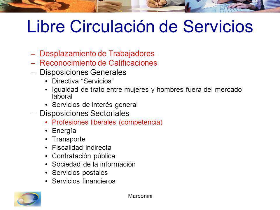 Marconini Libre Circulación de Servicios –Desplazamiento de Trabajadores –Reconocimiento de Calificaciones –Disposiciones Generales Directiva Servicio