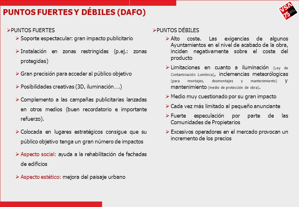 PUNTOS FUERTES Y DÉBILES (DAFO) PUNTOS FUERTES Soporte espectacular: gran impacto publicitario Instalación en zonas restringidas (p.ej.: zonas protegi