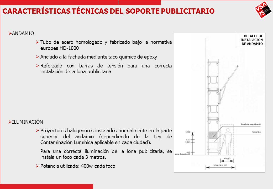 CARACTERÍSTICAS TÉCNICAS DEL SOPORTE PUBLICITARIO ANDAMIO Tubo de acero homologado y fabricado bajo la normativa europea HD-1000 Anclado a la fachada