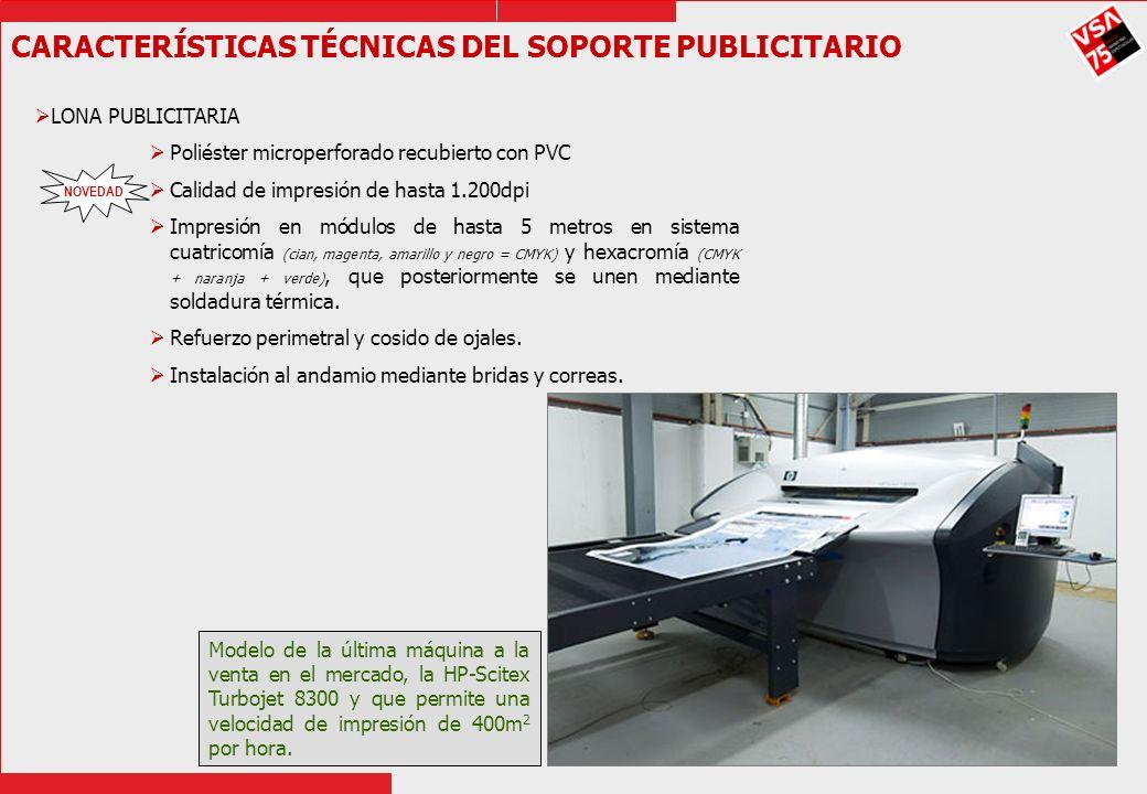 CARACTERÍSTICAS TÉCNICAS DEL SOPORTE PUBLICITARIO LONA PUBLICITARIA Poliéster microperforado recubierto con PVC Calidad de impresión de hasta 1.200dpi