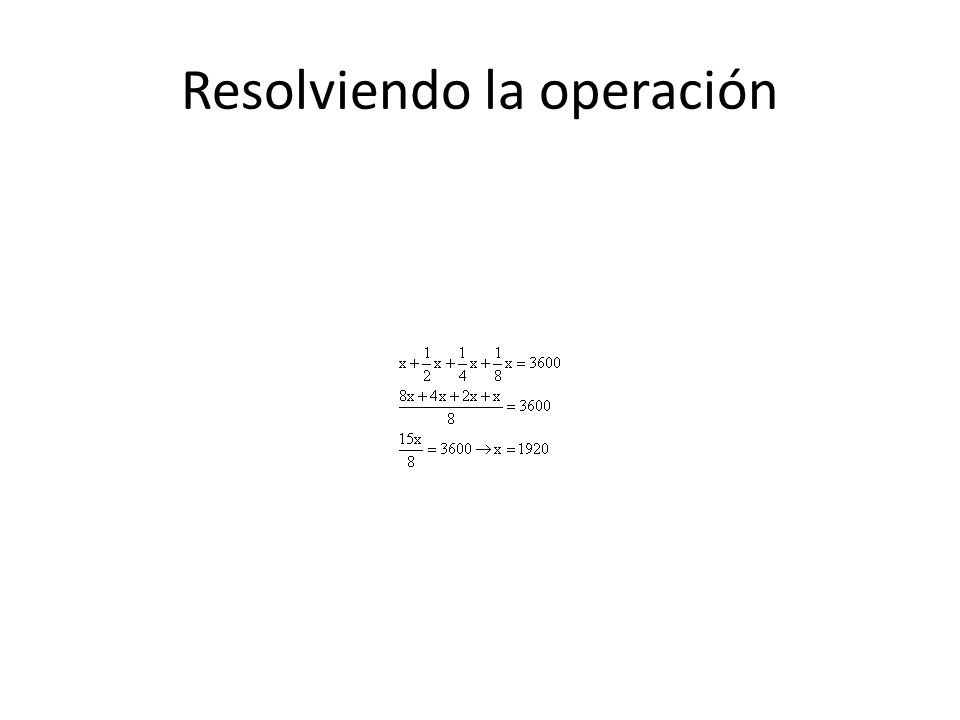 Resolviendo la operación