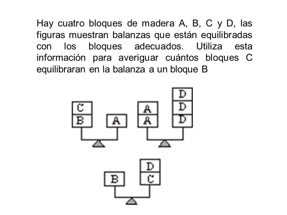 Hay cuatro bloques de madera A, B, C y D, las figuras muestran balanzas que están equilibradas con los bloques adecuados. Utiliza esta información par