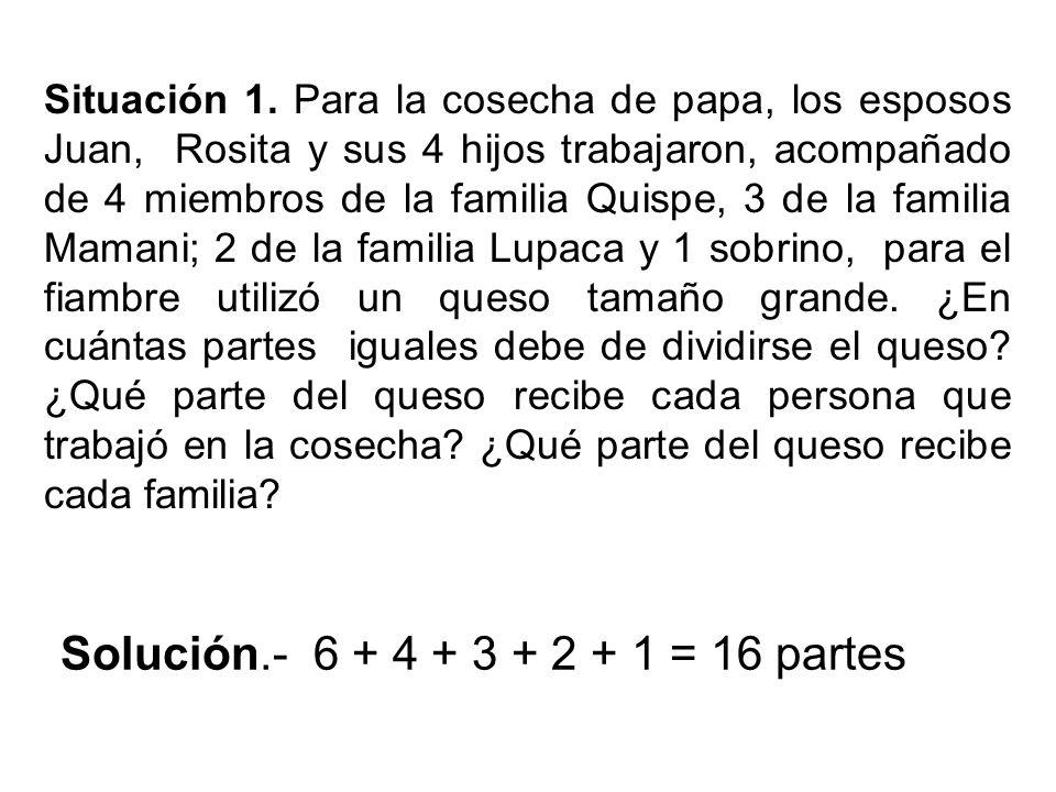Situación 1. Para la cosecha de papa, los esposos Juan, Rosita y sus 4 hijos trabajaron, acompañado de 4 miembros de la familia Quispe, 3 de la famili
