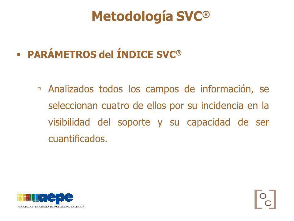 PARÁMETROS del ÍNDICE SVC ® Analizados todos los campos de información, se seleccionan cuatro de ellos por su incidencia en la visibilidad del soporte