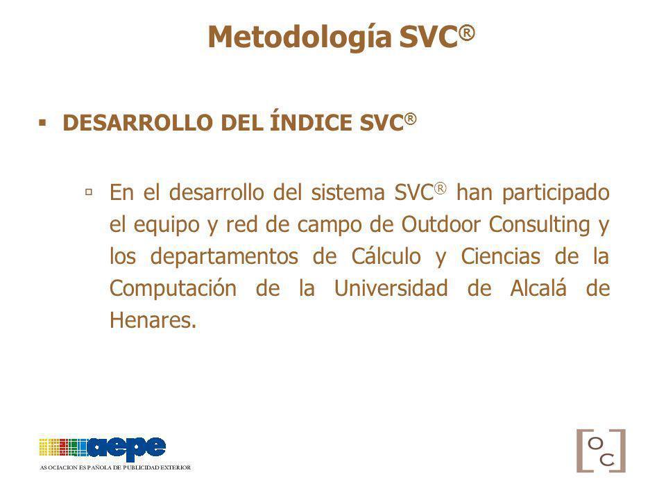 DESARROLLO DEL ÍNDICE SVC ® Metodología SVC ® En el desarrollo del sistema SVC ® han participado el equipo y red de campo de Outdoor Consulting y los