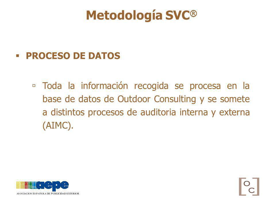 PROCESO DE DATOS Toda la información recogida se procesa en la base de datos de Outdoor Consulting y se somete a distintos procesos de auditoria inter