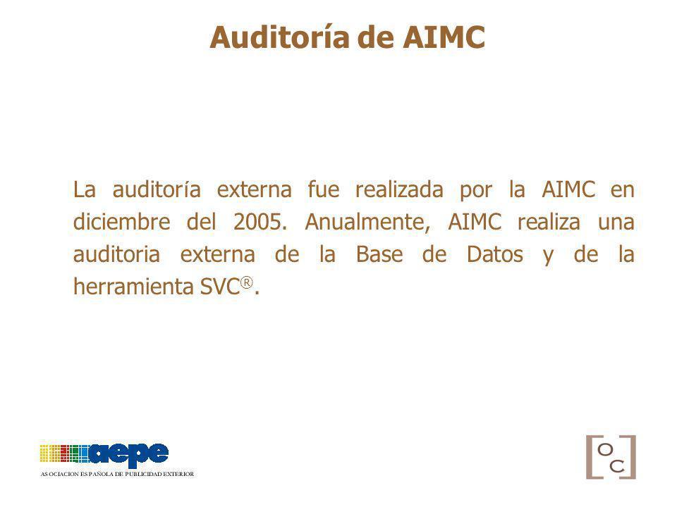 La auditor í a externa fue realizada por la AIMC en diciembre del 2005. Anualmente, AIMC realiza una auditoria externa de la Base de Datos y de la her