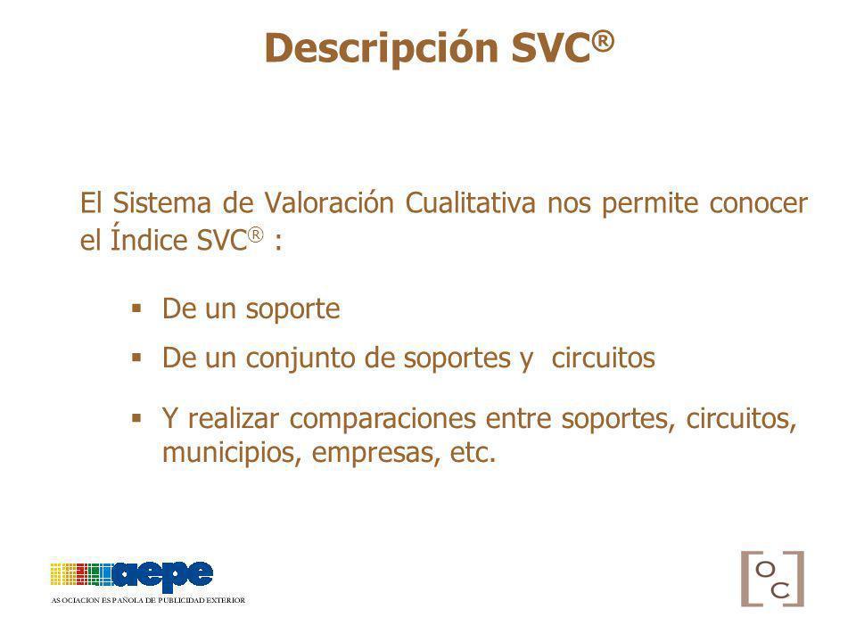 El Sistema de Valoración Cualitativa nos permite conocer el Índice SVC ® : De un soporte De un conjunto de soportes y circuitos Y realizar comparacion