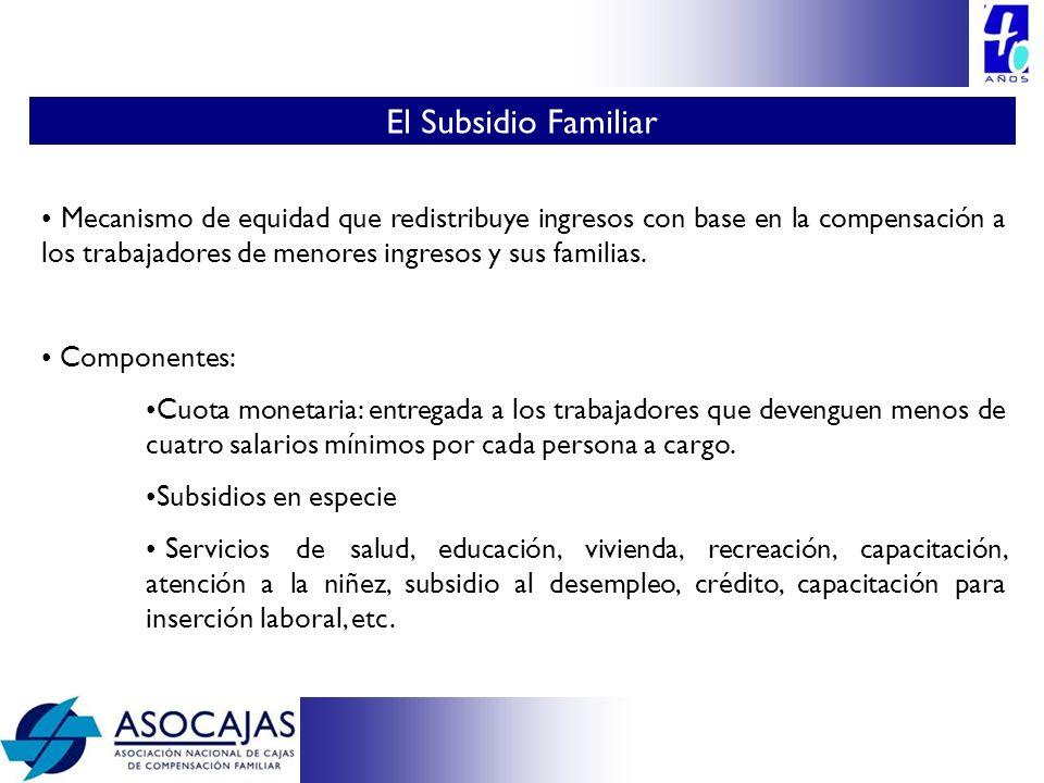 Mecanismo de equidad que redistribuye ingresos con base en la compensación a los trabajadores de menores ingresos y sus familias. Componentes: Cuota m
