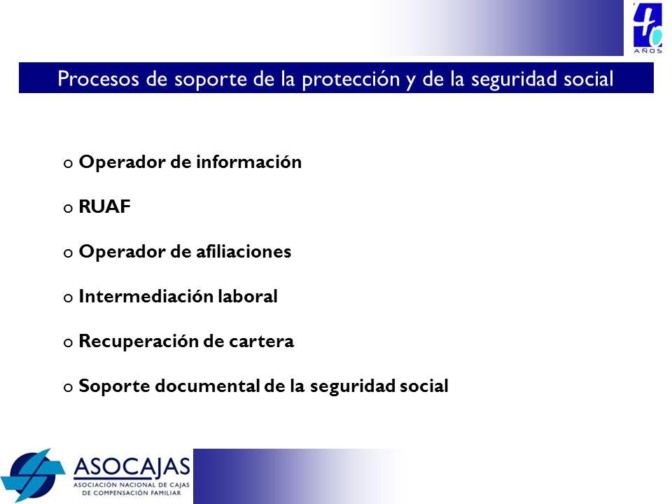 o Operador de información o RUAF o Operador de afiliaciones o Intermediación laboral o Recuperación de cartera o Soporte documental de la seguridad so