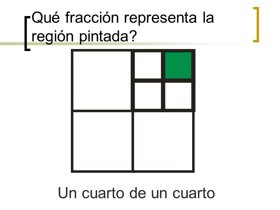 Qué fracción representa la región pintada? Un cuarto de un cuarto