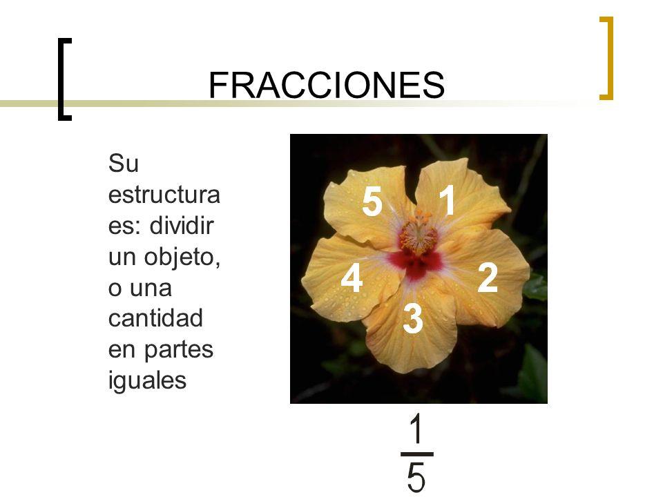FRACCIONES Su estructura es: dividir un objeto, o una cantidad en partes iguales