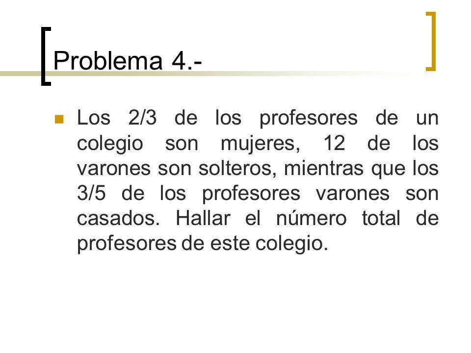 Problema 4.- Los 2/3 de los profesores de un colegio son mujeres, 12 de los varones son solteros, mientras que los 3/5 de los profesores varones son c