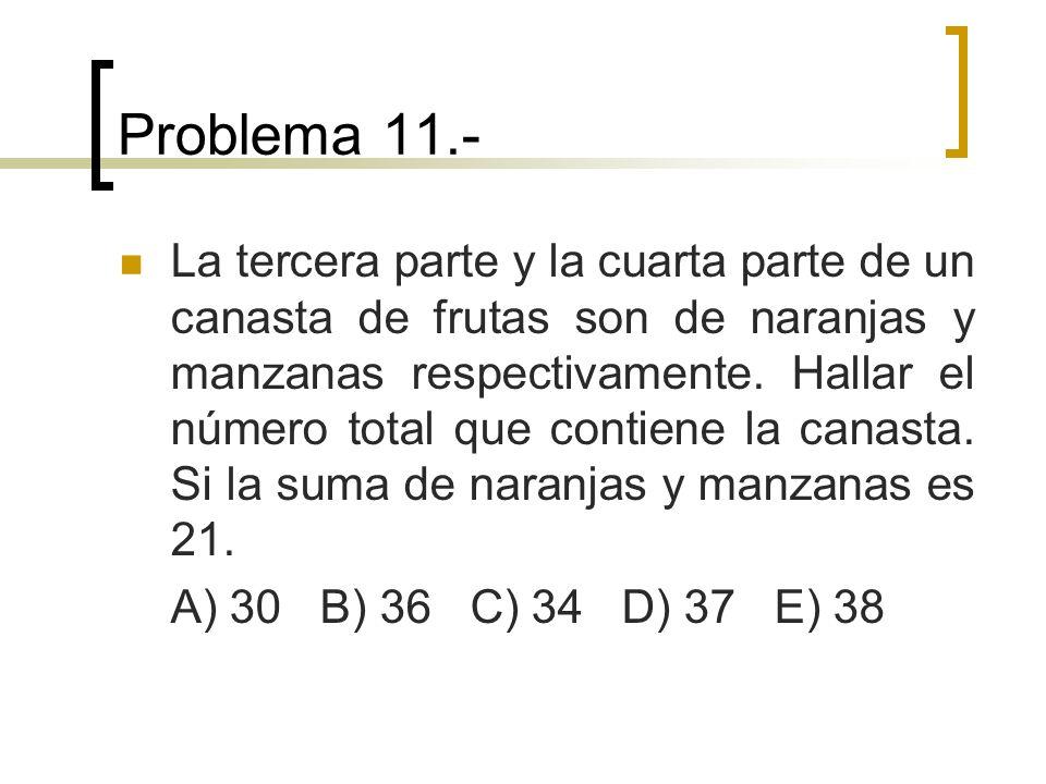 Problema 11.- La tercera parte y la cuarta parte de un canasta de frutas son de naranjas y manzanas respectivamente. Hallar el número total que contie