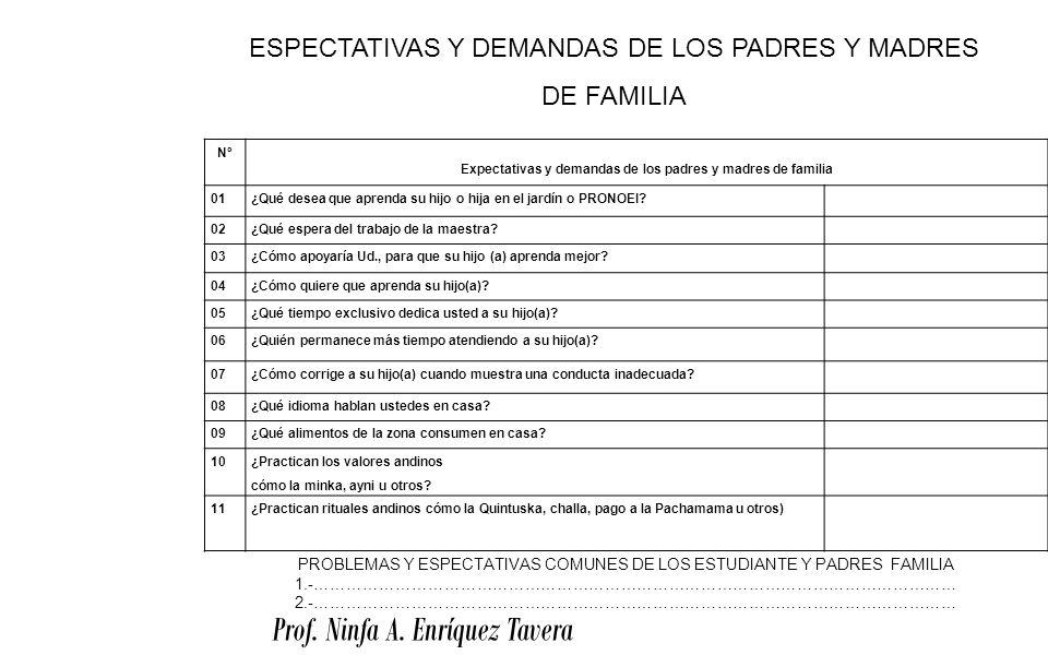 Prof. Ninfa A. Enríquez Tavera Nº Expectativas y demandas de los padres y madres de familia 01¿Qué desea que aprenda su hijo o hija en el jardín o PRO