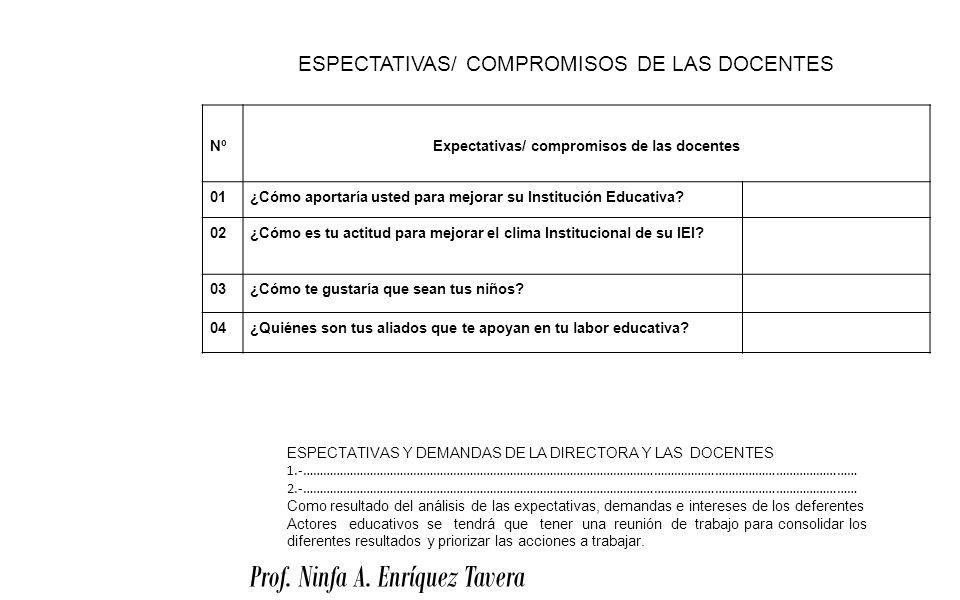 Prof. Ninfa A. Enríquez Tavera NºExpectativas/ compromisos de las docentes 01¿Cómo aportaría usted para mejorar su Institución Educativa? 02¿Cómo es t