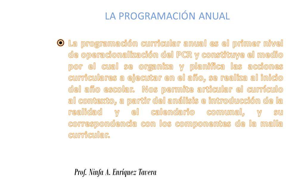 LA PROGRAMACIÓN ANUAL Prof. Ninfa A. Enríquez Tavera