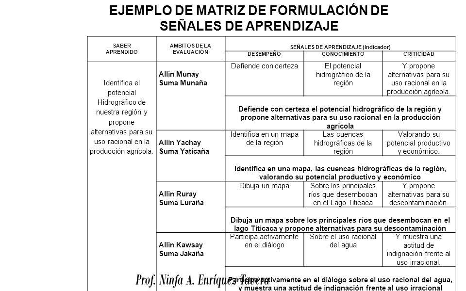 Prof. Ninfa A. Enríquez Tavera SABER APRENDIDO AMBITOS DE LA EVALUACIÓN SEÑALES DE APRENDIZAJE (Indicador) DESEMPEÑOCONOCIMIENTOCRITICIDAD Identifica