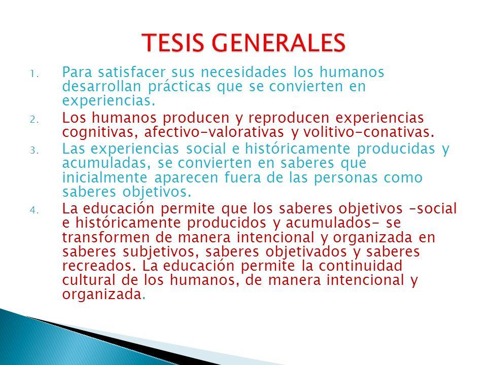 1. Para satisfacer sus necesidades los humanos desarrollan prácticas que se convierten en experiencias. 2. Los humanos producen y reproducen experienc