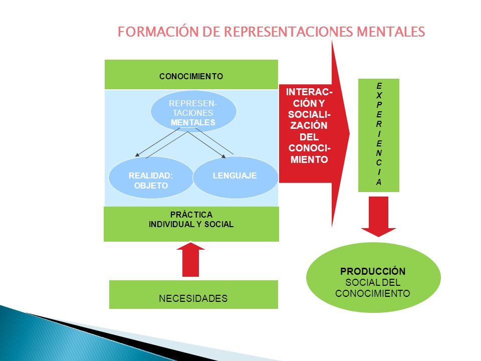 FORMACIÓN DE REPRESENTACIONES MENTALES REPRESEN- TACIONES MENTALES REALIDAD: OBJETO LENGUAJE INTERAC- CIÓN Y SOCIALI- ZACIÓN DEL CONOCI- MIENTO PRÁCTI