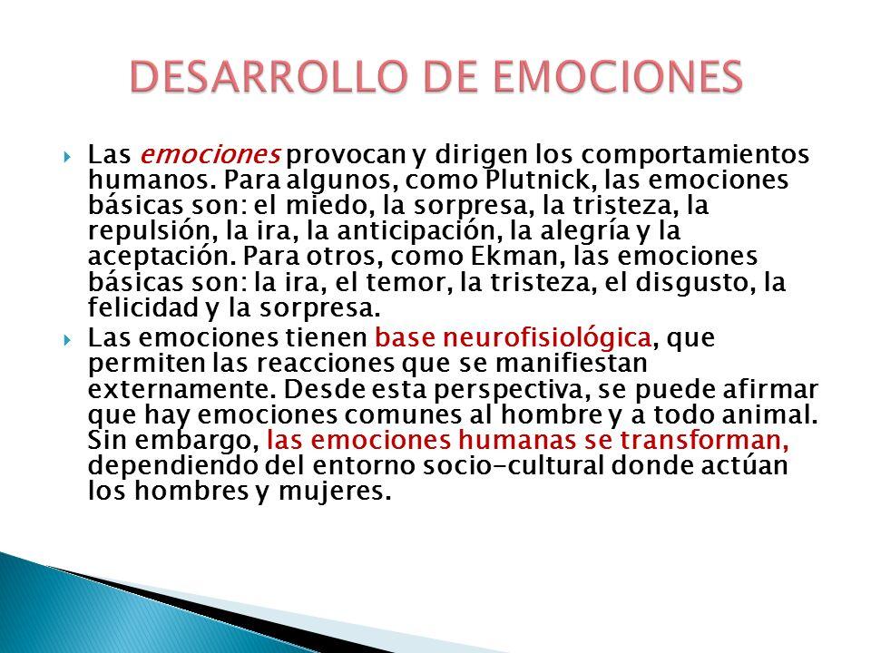 Las emociones provocan y dirigen los comportamientos humanos. Para algunos, como Plutnick, las emociones básicas son: el miedo, la sorpresa, la triste