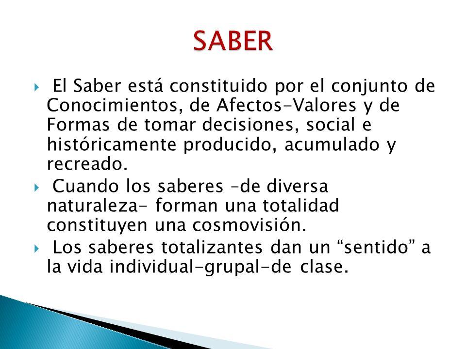 El Saber está constituido por el conjunto de Conocimientos, de Afectos-Valores y de Formas de tomar decisiones, social e históricamente producido, acu