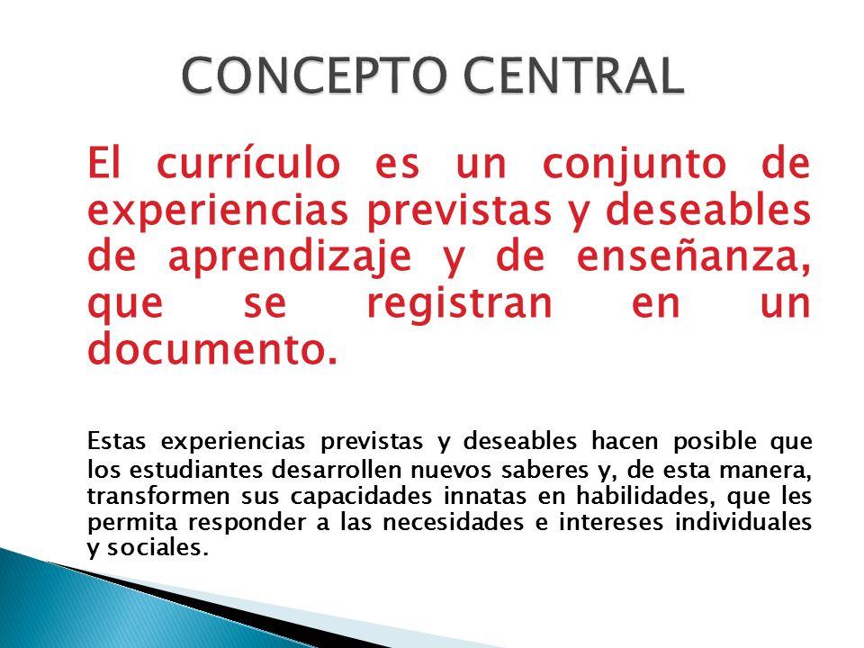 El currículo es un conjunto de experiencias previstas y deseables de aprendizaje y de enseñanza, que se registran en un documento. Estas experiencias