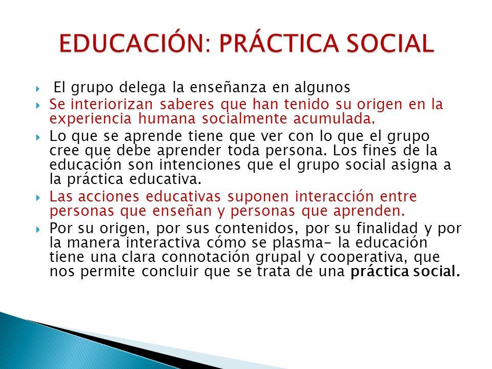 El grupo delega la enseñanza en algunos Se interiorizan saberes que han tenido su origen en la experiencia humana socialmente acumulada. Lo que se apr