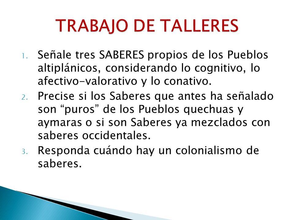 1. Señale tres SABERES propios de los Pueblos altiplánicos, considerando lo cognitivo, lo afectivo-valorativo y lo conativo. 2. Precise si los Saberes