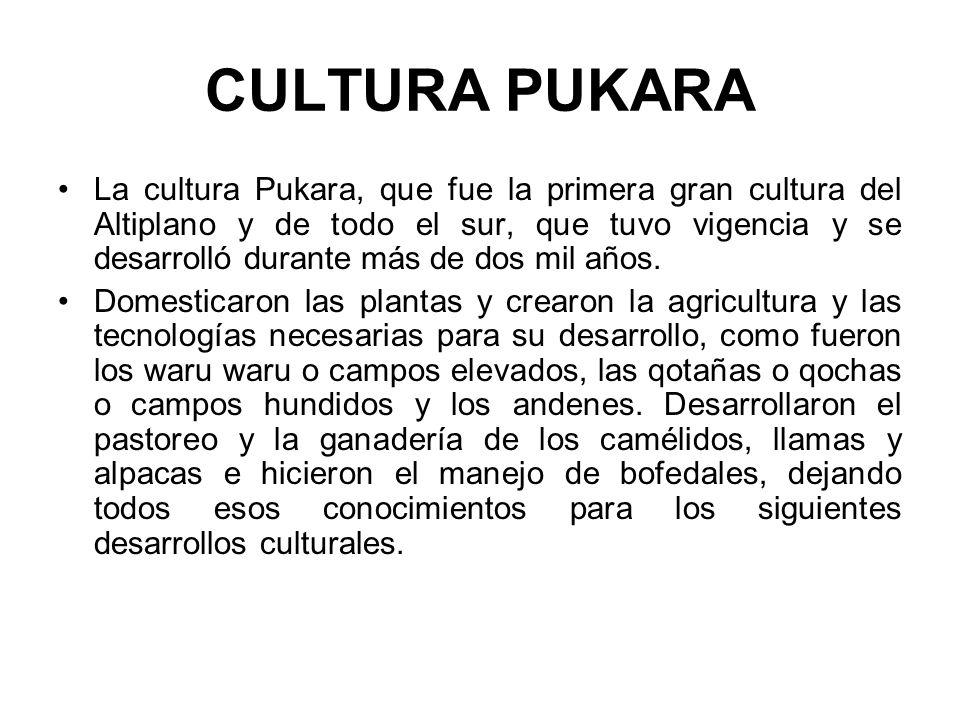 CULTURA PUKARA La cultura Pukara, que fue la primera gran cultura del Altiplano y de todo el sur, que tuvo vigencia y se desarrolló durante más de dos