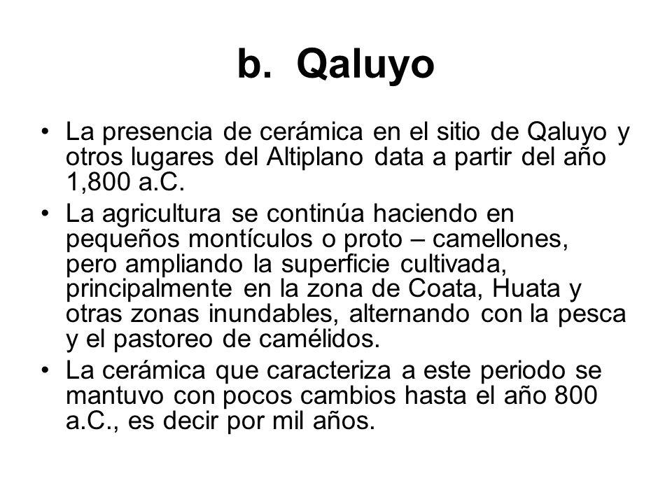 b. Qaluyo La presencia de cerámica en el sitio de Qaluyo y otros lugares del Altiplano data a partir del año 1,800 a.C. La agricultura se continúa hac