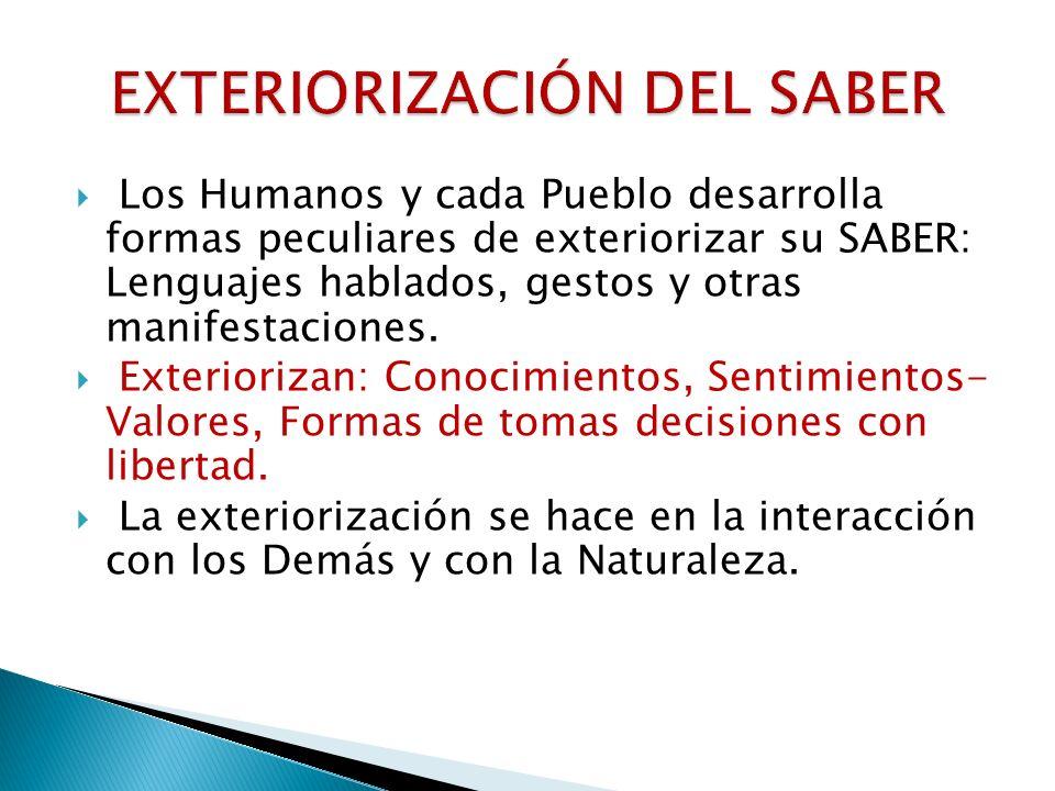 Las diversas formas de lenguaje y comunicación del Saber son parte de la ontogénesis del Saber, de la Cultura y del mismo desarrollo de la condición humana.