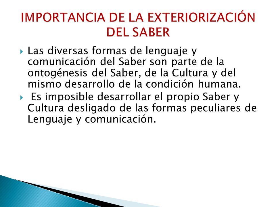 FORMACIÓN Y EXTERIOZACIÓN DE SABERES EXPERIENCIAS COGNITIVAS, AFECTIVO- VALORATIVAS Y VOLITIVAS PRÁCTICA DE INTERACCIÓN CON LOS DEMAS Y CON LA NATURALEZA, A NIVEL INDIVIDUAL Y SOCIAL NECESIDADES SABER EXTERIORIZACIÓN DEL SABER: Lenguaje y diversas formas De manifestación