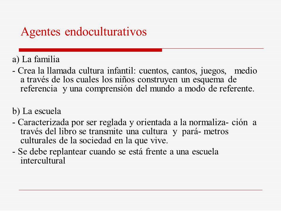 La endoculturación Proceso mediante el cual el individuo absorbe los modos de pensamiento, acción y de sentimientos que constituyen su cultura, tiene que ver con los procesos implicados en el aprendizaje de una tradición cultural.
