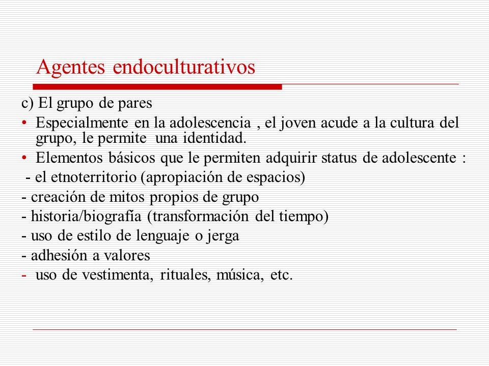 Agentes endoculturativos a) La familia - Crea la llamada cultura infantil: cuentos, cantos, juegos, medio a través de los cuales los niños construyen un esquema de referencia y una comprensión del mundo a modo de referente.