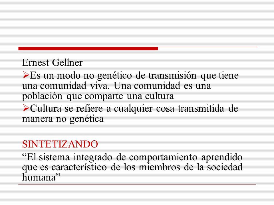 Definiciones actuales: Clifford Geertz (1973) …denota un esquema históricamente transmitido de significaciones representadas en símbolos, un sistema de concepciones heredadas y expresadas en formas simbólicas por medios con los cuales los hombres comunican y desarrollan su conocimiento y sus actitudes frente a la vida.