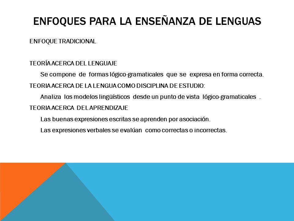 ENFOQUES PARA LA ENSEÑANZA DE LENGUAS ENFOQUE TRADICIONAL TEORÍA ACERCA DEL LENGUAJE Se compone de formas lógico-gramaticales que se expresa en forma correcta.
