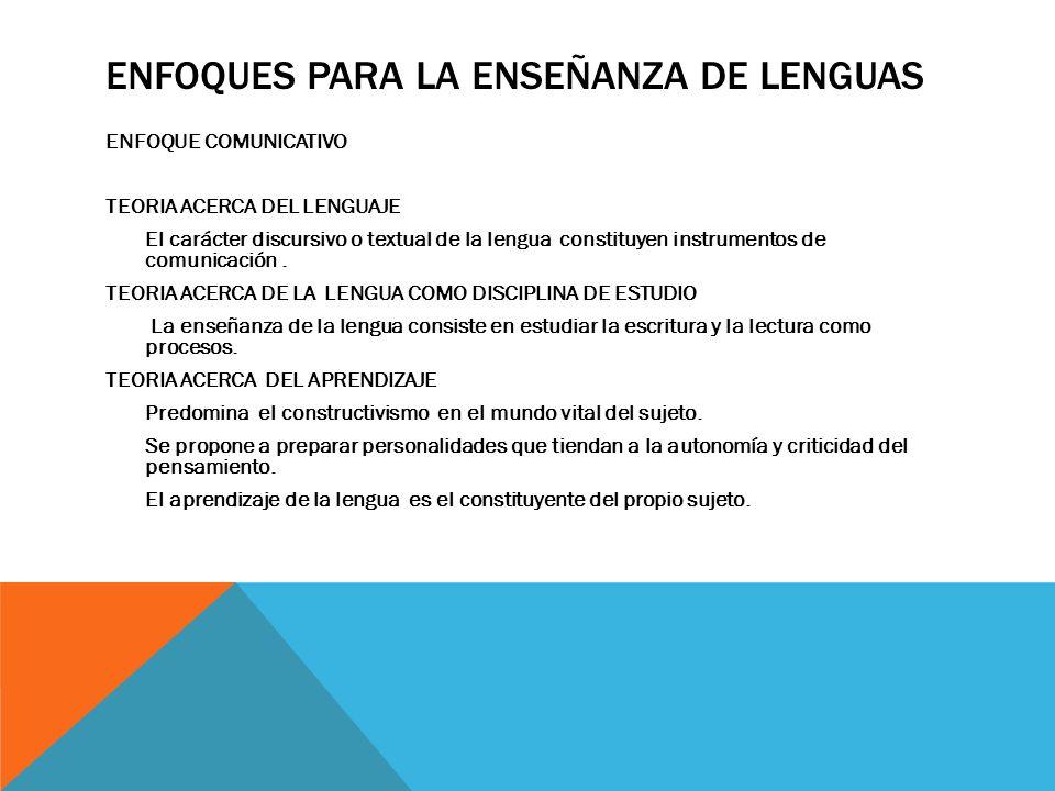 ENFOQUES PARA LA ENSEÑANZA DE LENGUAS ENFOQUE COMUNICATIVO TEORIA ACERCA DEL LENGUAJE El carácter discursivo o textual de la lengua constituyen instrumentos de comunicación.