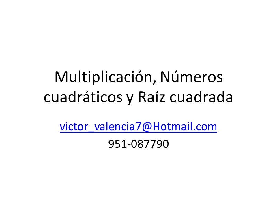 Multiplicación, Números cuadráticos y Raíz cuadrada victor_valencia7@Hotmail.com 951-087790